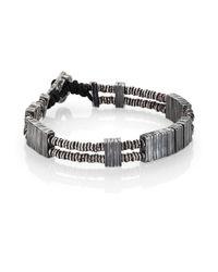 M. Cohen | Black Two-strand Carved Silver Bar  Vinyl Bracelet | Lyst