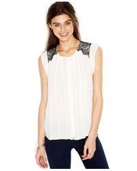 Maison Jules - White Flutter-Sleeve Lace-Overlay Blouse - Lyst