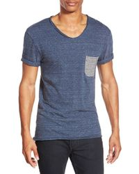 ELEVEN PARIS | Gray 'babico' Stripe Pocket V-neck T-shirt for Men | Lyst