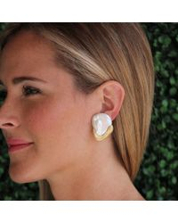 Yvel Metallic Baroque Freshwater Pearl Earrings