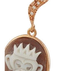 Amedeo Pink Rose Gold-Plated, Sardonyx Shell And Diamond Monkey Cameo Earrings
