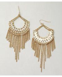 Sparkling Sage | Metallic Gold and Crystal Fringe Chandelier Earrings | Lyst