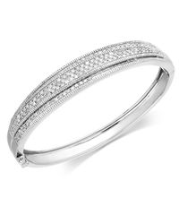 Wrapped in Love | Metallic ™ Diamond Pave-set Crossover Bangle In Sterling Silver (1 Ct. T.w.) | Lyst
