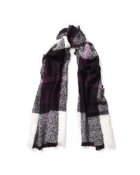 Ralph Lauren - Black Mohair Plaid Scarf - Lyst