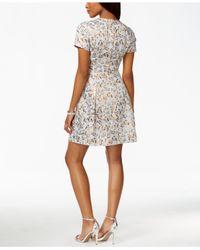 Vince Camuto Multicolor Metallic Jacquard Flare Dress