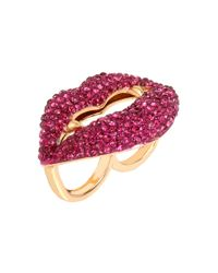 Betsey Johnson | Metallic Pave Vampire Lips Double Ring | Lyst