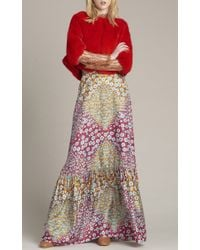 Monique Lhuillier Multicolor Silk Twill Long Skirt