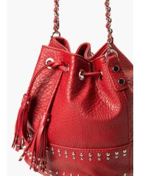 Mango | Red Studded Bucket Bag | Lyst