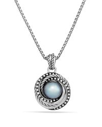 David Yurman Metallic Pearl Crossover Pendant With Diamonds On Chain