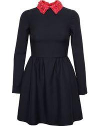 Valentino Black Floral Collar Dress