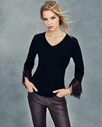 Neiman Marcus - Black Cashmere V-neck Sweater W/ Suede Fringe Detail - Lyst
