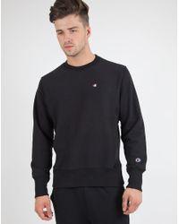 Champion   Reverse Weave Crew Neck Sweatshirt Black for Men   Lyst