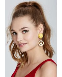 Nasty Gal - Yellow Vintage Moschino Peace Earrings - Lyst