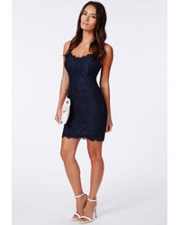 Missguided Blue Lianne Eyelash Lace Mini Dress Navy