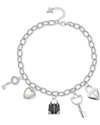 Guess | Metallic Silver-tone Enamel Crystal Charm Gifting Necklace | Lyst