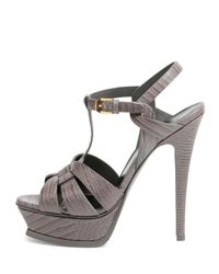 Saint Laurent - Gray Tribute Leather Heels - Lyst