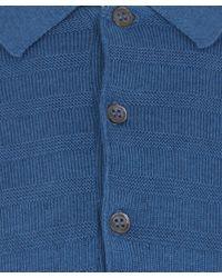 John Smedley | Blue Runkel Textured Stripe Cotton Polo for Men | Lyst