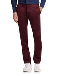 Burberry - Red Elevated Cotton Chino Pants for Men - Lyst