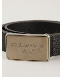 Dolce & Gabbana | Black Logo Plaque Buckle Belt for Men | Lyst