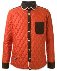 Education From Young Machines Orange Quilted Shirt Jacket for men