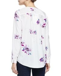 Joie   White Deon B Long-sleeve Silk Floral Blouse   Lyst