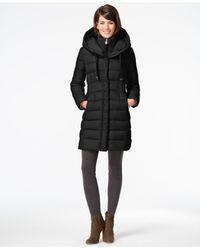 Tahari Black Knit-collar Packable Down Coat