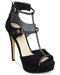 Guess Black Women's Karlee T-strap Platform Sandals