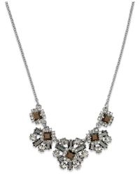 kate spade new york | Metallic Silver-tone Stone And Crystal Flower Cluster Frontal Necklace | Lyst