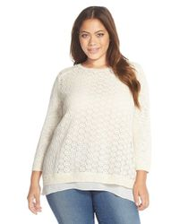 Lucky Brand - Natural Mixed Media Layered Look Sweater - Lyst