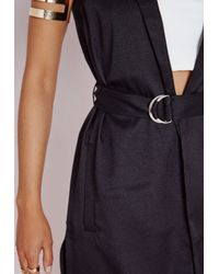 c2ce338386196 Lyst - Missguided Longline Sleeveless D Ring Blazer Black in Black
