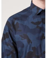 Valentino Blue Camouflage Shirt for men