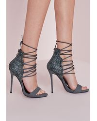 Missguided | Gray Woven Detail Barely There Heeled Sandals Grey | Lyst