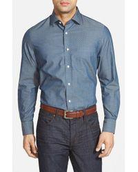 John W. Nordstrom | Blue Regular Fit Dobby Dot Sport Shirt for Men | Lyst