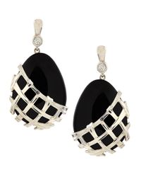 Slane | Crescent Weave Black Onyx & Diamond Earrings | Lyst