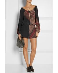 Finds Black + Stone Cold Fox Phoenix Printed Washed-Silk Playsuit