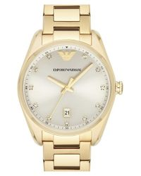Emporio Armani | Metallic Crystal Index Bracelet Watch | Lyst
