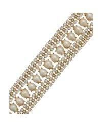 kate spade new york Metallic New York Goldtone Crystal and Imitation Pearl Bracelet