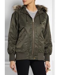 J.Crew Green Faux Fur-Trimmed Hooded Shell Bomber Jacket