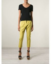 Erika Cavallini Semi Couture   Green Cropped Trousers   Lyst