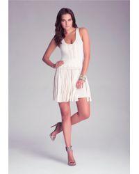 Bebe White Scoop Neck Fringe Dress