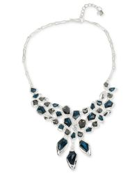 Robert Lee Morris | Silver-tone Fractured Blue And Black Stone Illusion Frontal Necklace | Lyst
