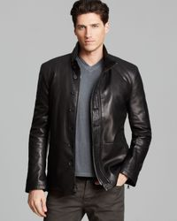 John Varvatos Black Collection Double Zip Leather Jacket for men