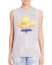 DSquared² - Gray Leaf-print Muscle Tee - Lyst