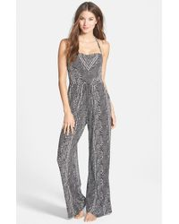 Robin Piccone | Black Print Halter Jumpsuit Cover-up | Lyst