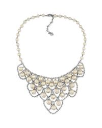 Carolee - Metallic Pearl and Crystal Frontal Bib Necklace - Lyst