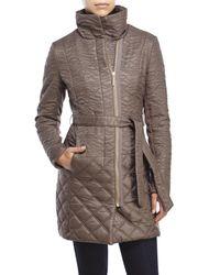 T Tahari | Gray Belted Asymmetrical Zip Puffer Coat | Lyst