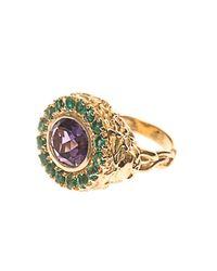 Jade Jagger - Multicolor Amethyst, Emerald & Gold-Plated Ring - Lyst