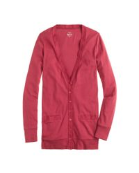 J.Crew - Red Perfect-fit Mixed-tape Cardigan Sweater - Lyst