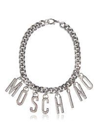 Moschino - Metallic Logo Lettering Rhinestone Necklace - Lyst