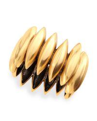 Oscar de la Renta Metallic Golden Ridged Disc Bracelet